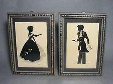 Pair of Vintage Silhouette Pictures - Lady and Gentleman Courting
