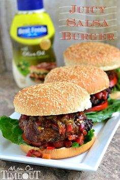 Juicy Salsa Burgers made with a secret ingredient!  | MomOnTimeout.com