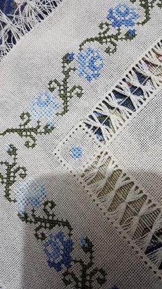 Cross Stitch Borders, Cross Stitch Designs, Cross Stitch Patterns, Hardanger Embroidery, Embroidery Stitches, Embroidery Designs, Bargello, Linen Bedding, Diy And Crafts