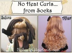 Make your own diy no heat curls, tight curls, vintage curls, natural waves and voluminous waves using easy, using inexpensive techniques. Curls Without Heat, Curls No Heat, Tight Curls, Heat Waves, No Heat Hairstyles, Funky Hairstyles, Pretty Hairstyles, Easy Overnight Curls, Sock Curls