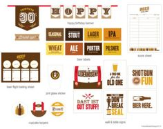SET INCLUDES -------------------------------------------- • 8 beer labels sized at 5x7 • 6 different cupcake toppers • 1 pint glass logo and set of stickers • 1 coaster logo • 6 party signs (to fit in an 8x10 frame) • Hoppy Birthday banner and 30th birthday pennant • 1 beer tasting score sheet • 1 beer tasting flight sheet ORDER INFO --------------------------------------------------------- All designs are digital and will be sent via email in PDF format Your file will be emailed to you…