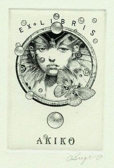 Lovely bookplate for Akiko Ex Libris, Coffee And Books, Vintage Comics, Printmaking, Tarot, Love Book, Book Lovers, Illustration Art, Prints