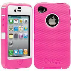 OtterBox Defender Series Case For iPhone 4 and 4S, Pink and White ❤ liked on Polyvore