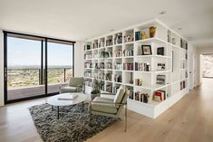 Mountainside home gets spectacular modern remodel in the Arizona desert Home Office Design, House Design, Library Design, Maple Wood Flooring, Contemporary Home Offices, Spanish Style Homes, Spanish Colonial, Villa, House On The Rock