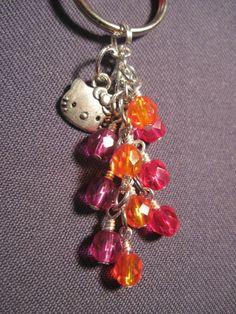 Pink Orange Purple Fire Polished Glass Beads Key Chain with Hello Kitty Charm #Handmade