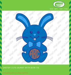 Easter Cute Bunny With Bow Tie Frames SVG DXF PNG by Alligcutter