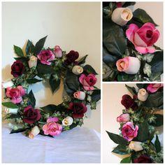 Wreath of Elegance Wooden Roses Wreath  foreveryourswoodenroses.wordpress.com facebook.com/foreveryourswoodenroses Straw Wreath, Rose Vase, Wooden Flowers, Ropes, Door Hangers, Door Wreaths, Grape Vines, Wordpress, Floral Wreath