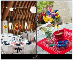 barn wedding table accessories including pin wheel and red bandana.   borterwagner photography     borterwagner.com