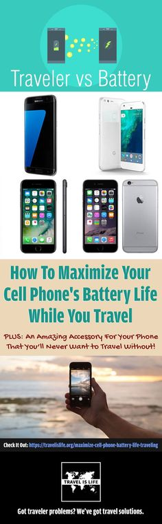 This article is going to teach you how to get the most out of your cell phone battery when you travel. Plus I'll show you a cell phone accessory that you'll never want to travel without! Travel Tips. Travel Advice, Travel Guides, Travel Tips, Travel Hacks, Travel Destinations, Travel Europe, Travel Gadgets, Tech Gadgets, Travel Essentials