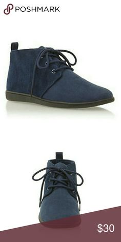 Blue booties in faux suede NWT Blue faux suede very comofortable.looks great with jeans and a bomber jacket.PRICE FIRM Shoes Ankle Boots & Booties
