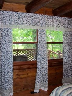 The lighting required turning on all the lights and waiting for a sunny day. The cabin is surrounded by 5 1/2 acres of trees, so it is actually very dark in the cabin. It has been fun decorating this place. I never had a cabin before and refused to decorate with the traditional country look, its not my style. So I was very happy to find your website. Thanks again, Pat