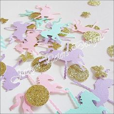 Carousel Horse Party Confetti Merry Go by JaclynPetersDesigns Carousel Cupcakes, Carousel Party, 1st Birthday Parties, 2nd Birthday, Horse Party, Baptism Party, Carousel Horses, Gold Glitter, Mint Green