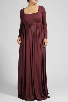 THIS IS A CLASSIC AND ELEGANT DRESS FOR ANY OCCASION. FEATURES FITTED LONG SLEEVES, A SQUARE SCOOP NECKLINE, AND EMPIRE WAIST.