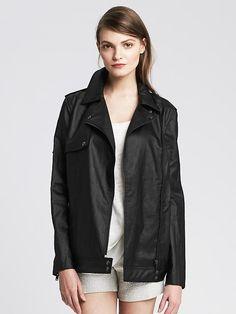 Coated Linen Moto Jacket