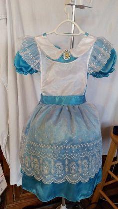 Disney Store Alice in Wonderland Blue White Dress Halloween Costume sz S 5 6 #Disney #Dress