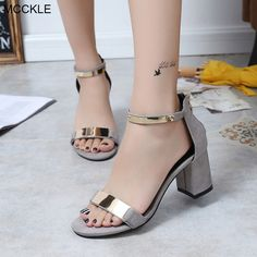 Unique Women Summer Shoes Ideas You Will Totally Love Thick Heels Pumps, Chunky High Heels, Black High Heels, Pumps Heels, Platform Wedges Shoes, Ankle Strap Shoes, Strap Heels, Gladiator Shoes, Strap Sandals