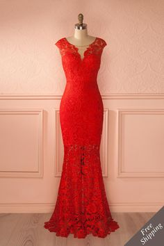 Longue robe rouge dentelle fleurie - Red Maxi Dress Floral Lace