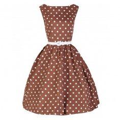 Coffee brown white polka dot dress