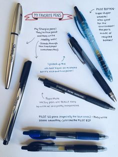 For whoever wanted me to make a post about my fave pens! (Sharpie, Pilot PaperMate InkJoy, Uni-ball Signo and Pilot For whoever wanted me to make a post about my fave pens! (Sharpie, Pilot PaperMate InkJoy, Uni-ball Signo and Pilot Best Note Taking Pens, Note Taking Tips, Pretty Notes, Good Notes, Best Pens, Good Pens, Diy School Supplies, Office Supplies, Art Supplies