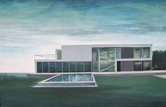 Kiesner Maria, Waterpool, acrylic on canvas, modern architecture, modernist architecture, architecture on paitning, blue, green, modern art, polish art