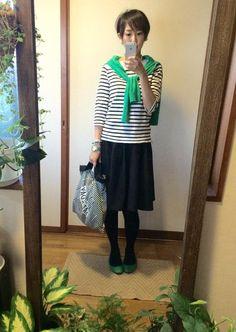 10月10日 GAPグリーンカーデとLEPSIMふんわりスカートでフレンチCD