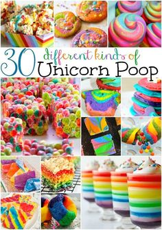 There's just something fun, silly and downright awesome about making and eating Unicorn Poop in any form or shape! These unicorn recipes include unicorn poop candy, unicorn poop cakes, and a lot more! Save this pin for later! Rainbow Unicorn Party, Rainbow Birthday, Unicorn Birthday Parties, Birthday Ideas, Birthday Treats For School, 5th Birthday, Rainbow Treats, Rainbow Food, Rainbow Desserts