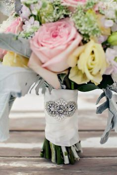 Crystal Bouquet Wrap, Wedding Bouquet, Bridal Bouquet - MEGHAN on Etsy, $42.00