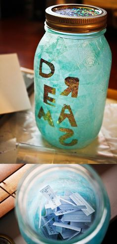 Cute DIY Mason Jar Ideas - How To Make Dream Jars - Fun Crafts, Creative Room Decor, Homemade Gifts, Creative Home Decor Projects and DIY Mason Jar Lights - Cool Crafts for Teens and Tween Girls http://diyprojectsforteens.stfi.re/cute-diy-mason-jar-crafts