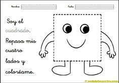 Figuras-geom+®tricas-para-ni+¦os-actividades-Cuadrado Preschool Spanish, Learning Spanish, Dual Language Classroom, Pre K Activities, Spanish Lessons, Crafts For Kids, Snoopy, Teaching, Education