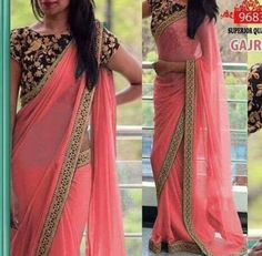 Pink Embroidered Poly Georgette Saree With Blouse piece - Saree Styles Indian Designer Sarees, Indian Sarees Online, Fancy Sarees, Party Wear Sarees, Maroon Saree, Peach Saree, Sari Design, Diy Design, Stylish Sarees
