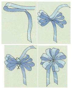 Best 11 DIY: How to tie bows – How to make a graduated loopy bow – How to make a loopy bow – SkillOfKing. Diy Hair Bows, Diy Bow, Diy Ribbon, Ribbon Crafts, Ribbon Bows, Ribbons, Bow From Ribbon, Gift Wrapping Bows, Gift Bows