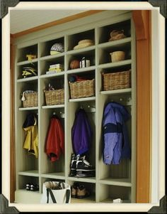 Do it in oak to match trim or hickory to match existing cabinets? Taller bottom shelf height to avoid head bumps as kids grow...