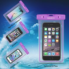 SMARCO Universal Night Fluorescence Waterproof Bag for Iphone 6/6 plus,Samsung Galaxy S6, S5,S4,S3,HTC,Sony,Nokia,keeps your Cell Phone from Water,Sand,Dust and Dirt-IPX8 Certified to 100Feet(Purple)