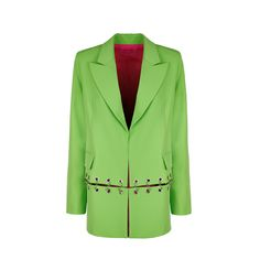 GREEN GROMMET BLAZER – IRENEISGOOD Label Label, Green, Fabric, How To Make, Jackets, Fashion, Clothes, Tejido, Down Jackets
