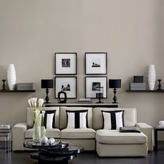 black and white, interiors, wall decor, sofa, pillows, modern design