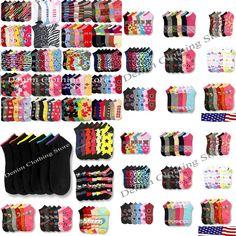 12~120pair Women Girl Low Cut Ankle Socks Solid Plain Spandex Wholesale Lot 9-11