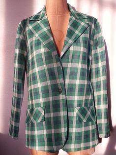 #70s #Vintage #Green #Navy #White #Plaid #Blazer Size #Medium by #Thriftiquities http://etsy.me/14L6bwC via @Etsy $24.95