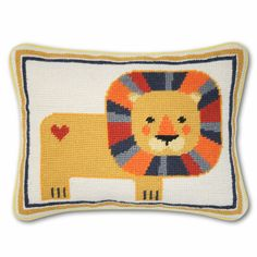 Jonathan Adler Lion Needlepoint Throw Pillow