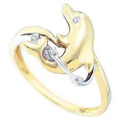 0.03 Carat (ctw) 10K Yellow Gold Round Cut White Diamond Ladies Dolphin Right Hand Ring. Crafted in 10K Yellow-gold. Diamond Color / Clarity : I-J / I2-I3. Diamond Weight : 0.03 ct tw. Weights approximately 2.05 grams. Gemstone : Diamond.