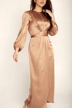 Julianna Satin Wrap Waist Maxi Dress - Caramel Gold Satin Dress, Satin Dresses, Gowns, Modesty Fashion, Fashion Dresses, Women's Fashion, Simple Dresses, Pretty Dresses, Elegant Dresses