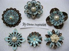 Light Blue Brown and Ivory Scrapbook Paper Embellishments and Paper Flowers. $5.75, via Etsy.