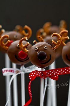 Mikołajkowe Cake Pops - Reniferki