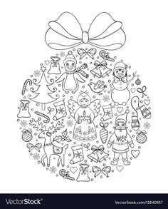 Christmas ball vector image on VectorStock Christmas Doodles, Christmas Balls, Adobe Illustrator, Vector Free, Illustration, Coloring, Pdf, Children, Christmas Baubles