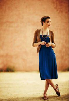 Indigo dress and cardigan. Lovely classical elegant look