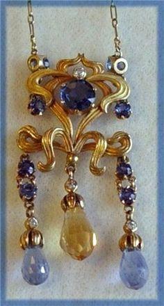Art Nouveau Sapphire, Citrine & Diamond Necklace `