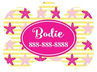 Personalized Starfish Pet Tag (Spring Time Design 13) with Steelheart Font