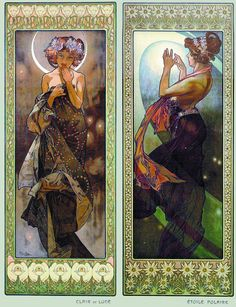 Mucha fascinates me.  Here we can see Terra and sister Forma creating the pathway to the stars.