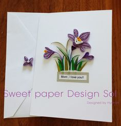 Paper Quilled Beautiful  purple  Crocus Card for Happy Mothers day, Birthday,Congratulation, Wedding,love, fathers day ,Anniversary card