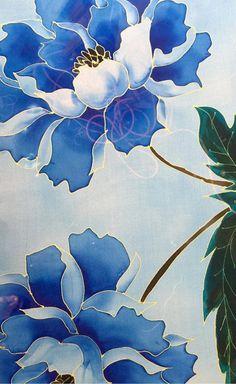 Blue Silk Shawl Hand Painted Silk Silk Painting Art Floral Scarf Japan Scarf Takuyo Blue Peony Kimono Scarf Chiffon Made to order Types Of Painting, Fabric Painting, Painting Art, Blue Peonies, Painted Silk, Hand Painted, Silk Art, Batik, Silk Shawl