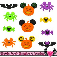 Disney Minnie & Mickey Mouse Halloween Bats, Jackolantern, Spiders, and Candy Licensed Buttons